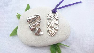 Silver Clay Textured Pendant